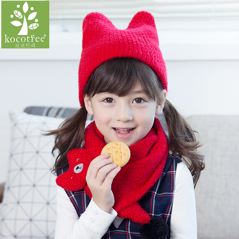 Top Quality Winter Warm Knitted Scarf And Hat Set For Children Funny Bear Photography Prop Hat