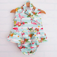 2PCS Newborn Baby Girl Clothes Sleeveless Covered Button Cartton Baby Girl Flamingo Blue White Wide-Striped One-piece Rompers bangladesh baby country series white blue or pink baby one piece bodysuit