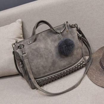 Bolish Vintage Nubuck Leather Female Top-handle Bags Rivet Larger Women Bag 4