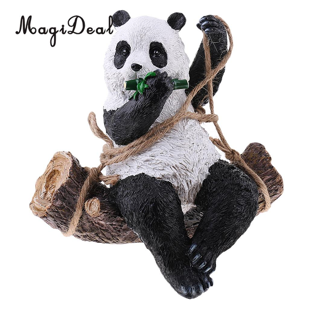 Lovely Resin Panda Artware Ornaments Cute Panda Figurines Artifical Animal Sculpture Garden Decor Pendants DIY