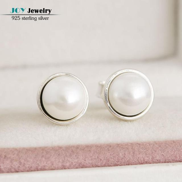 Authentic 925 Sterling Silver White Freshwater Pearls Elegant Beauty Stud Earrings For Women  Fine Jewelry Accessories With Logo