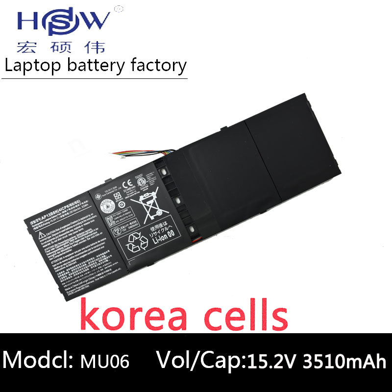 HSW 53wh 15.2V AP13B8K KT00403015 Laptop Battery for ACER Aspire R7 V5 V7 ES1-511 M5-583P R7-571 V5-473G V5-573P V7-481 V7-481G 14 touch glass screen digitizer lcd panel display assembly panel for acer aspire v5 471 v5 471p v5 471pg v5 431p v5 431pg