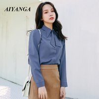 Spring Women Fashion 2019 Chiffon Blouses Solid Blue Turn down Collar Office Lady Blouse Shirts Girls Korean Clothes Casual Tops