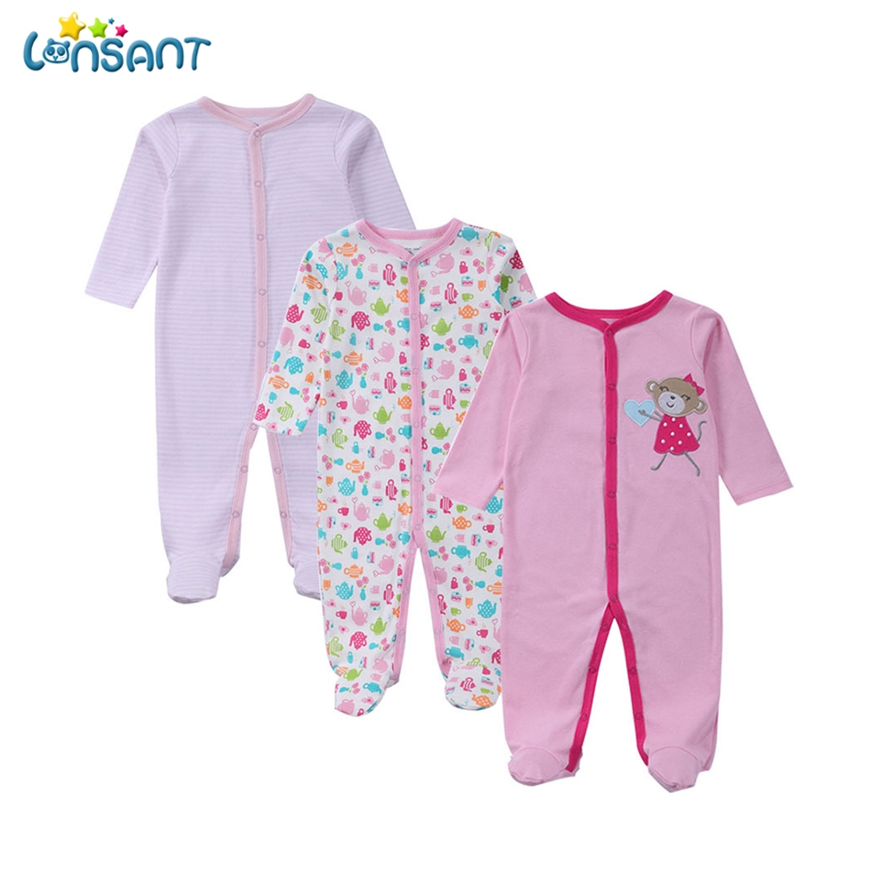 Detail Feedback Questions about LONSANT 3Pcs Brand Baby Footies Long Sleeves  100% Cotton Baby Pajamas Cartoon Printed Newborn Baby Girls Clothes ... d06dd0bc7