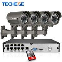 Techege 8CH 1080 P Überwachungskamera POE NVR system 2,8-12mm Manuell objektiv 1080 P IP wasserdichte P2P Cctv-System Kits