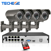 8CH 1080P Network Security Camera POE NVR System 2 8 12mm Varifocal Lens 1080P IP Waterproof