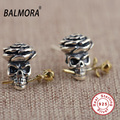100% real 925 sterling silver jewelry retro Skull & flower stud earrings women fashion cool jewelry high quality Bijoux MN10770