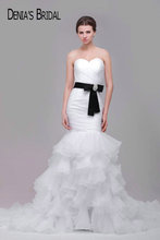 Ruffles Mermaid Wedding Dresses with Black Belt Tiered Court Train Bridal Gowns Custom Made