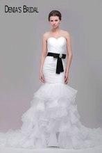 Ruffles suknie ślubne syrenka z czarny pasek wielowarstwowa sąd pociąg suknie ślubne wykonane na zamówienie