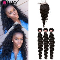 Brazilian Virgin Hair Weave 3 Bundles With Closure Loose Wave Human Hair Bundles With Closure Bleached Knots Baby Hair You May