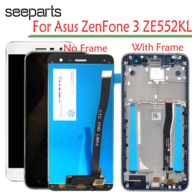 For <font><b>Asus</b></font> <font><b>ZenFone</b></font> <font><b>3</b></font> <font><b>ZE552KL</b></font> <font><b>LCD</b></font> <font><b>Display</b></font> Panel Touch Screen Digitizer Assembly With Frame For ZE 552KL Z012D Z012DC Z012DA <font><b>LCD</b></font> image