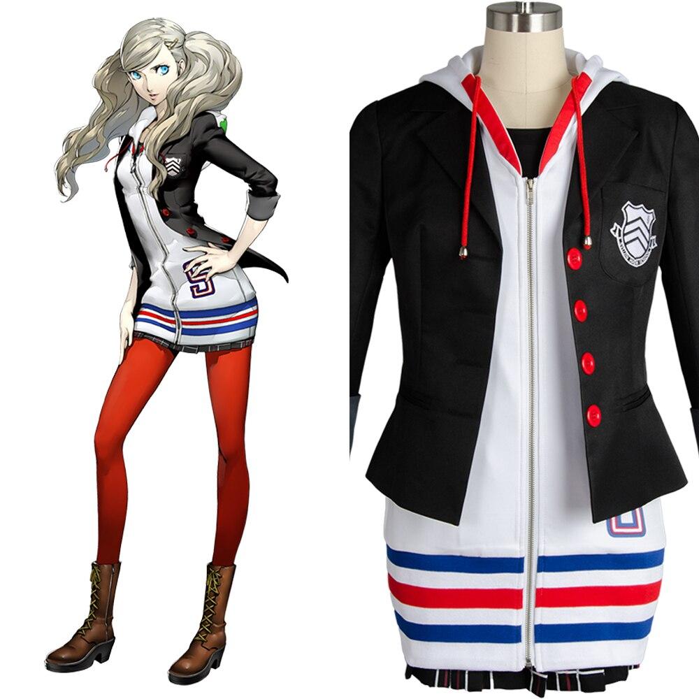 Ann Takamaki Cosplay Persona 5 Cosplay Anne Costume Full Set Uniform Jacket Shirt Skirt Stockings Vest
