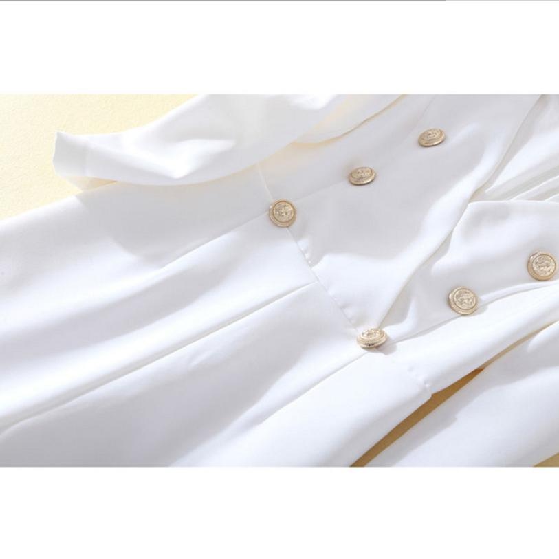L1240 breasted Tempérament Automne Ship Col Salopette Couleurs Passerelle Femmes Mode Métal Drop Solide Double V De White Flare 2018 Combinaisons zdaYpqff