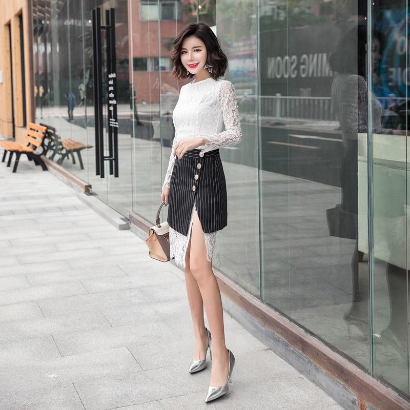 48677b01f Moda coreano Vestido de Renda Roupas Femininas Outono Inverno Lace Two  piece Suit Vestido Listrado Vestido Da Senhora Elegante Fino em Vestidos de  Roupas ...