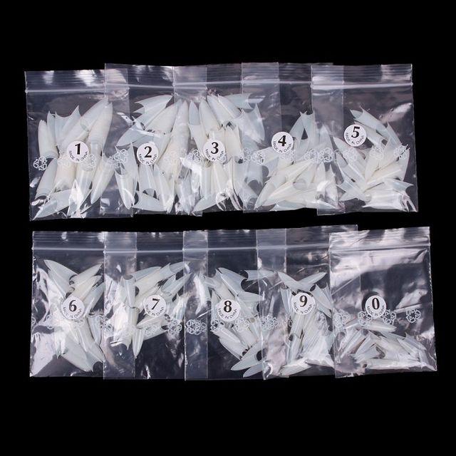 1bag/ 500 pcs Stiletto Point Shape Natural White Acrylic French False Nail UV Gel DIY Nail Tips  #58053