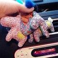 Bling horse key chain rhinestone bricolaje pompón de piel de los encantos del bolso de la gema colgantes de lujo rhinestone pegado llavero