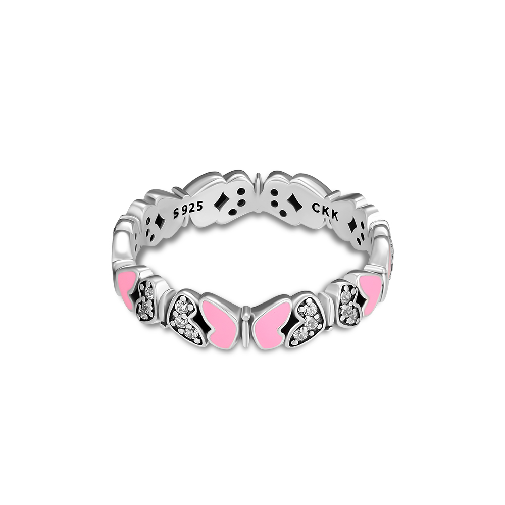 CKK Jewelry Butterfly All Around Rings with Pink Enamel and Clear CZ Original 925 Sterling Silver Rings for Women R013 in Rings from Jewelry Accessories