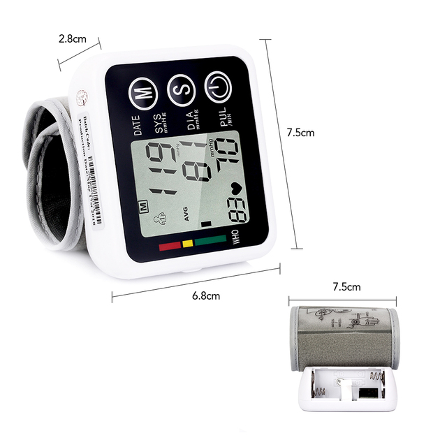 OLIECO Digital Wrist Blood Pressure Monitor Automatic Sphygmomanometer Portable Smart Cuff Heart Rate Tonometer Pulse Meter LCD