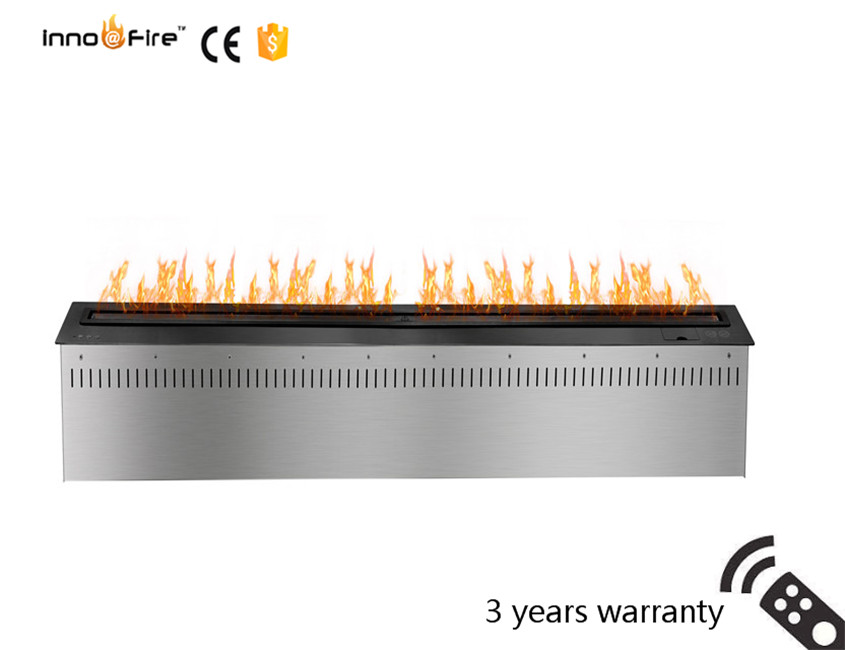 60 Inch Remote Control Silver Or Black Intelligent Real Flame Ethanol Electric Decorative Fireplace