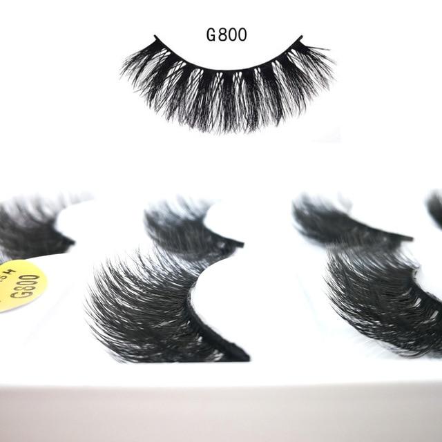 eea7515a7ec False Eyelashes Natural Extension (G805) Glamour Lash Beauty and Dramatic  Hand-made 3D Real Mink 5 Pairs/Box False Eyelashes