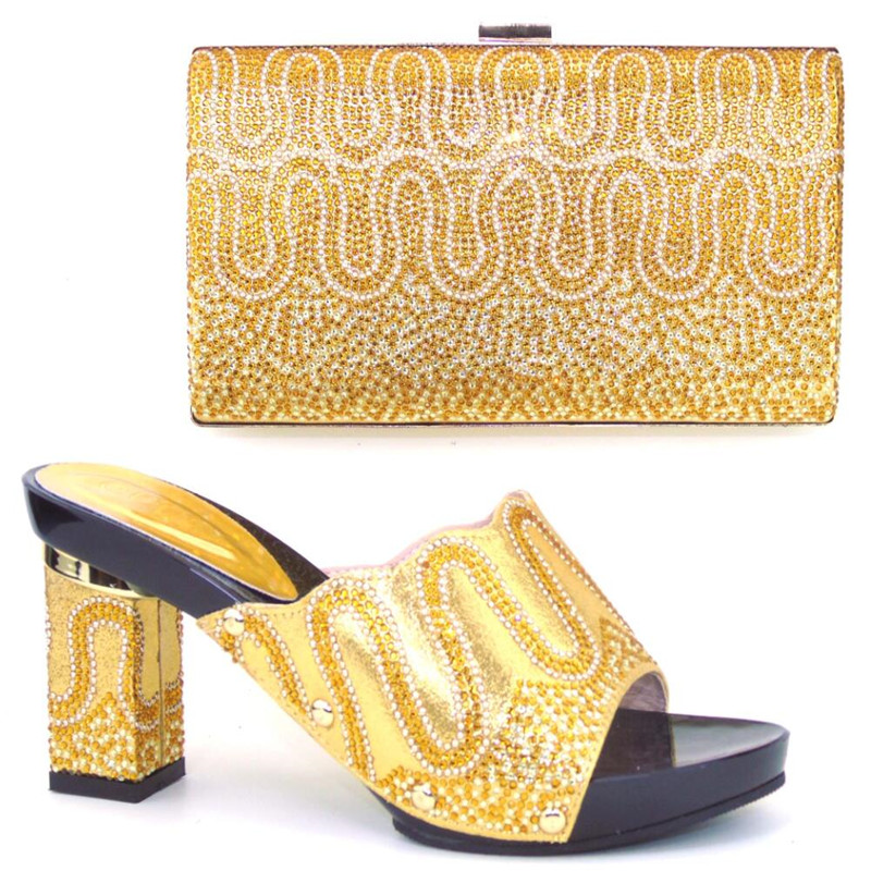 New Fashion African Shoe And Bag Set For Party Matching Bag With Shoes Rhinestones Design Sandal For Wedding TH04 gg6 2016 new design hot sale elegant and luxury rhinestones african handbag for wedding party