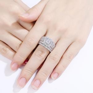Image 4 - Newshe Halo alyanslar kadınlar için 4 karat çapraz kesim AAA zirkonya klasik takı 925 ayar gümüş nişan yüzüğü seti