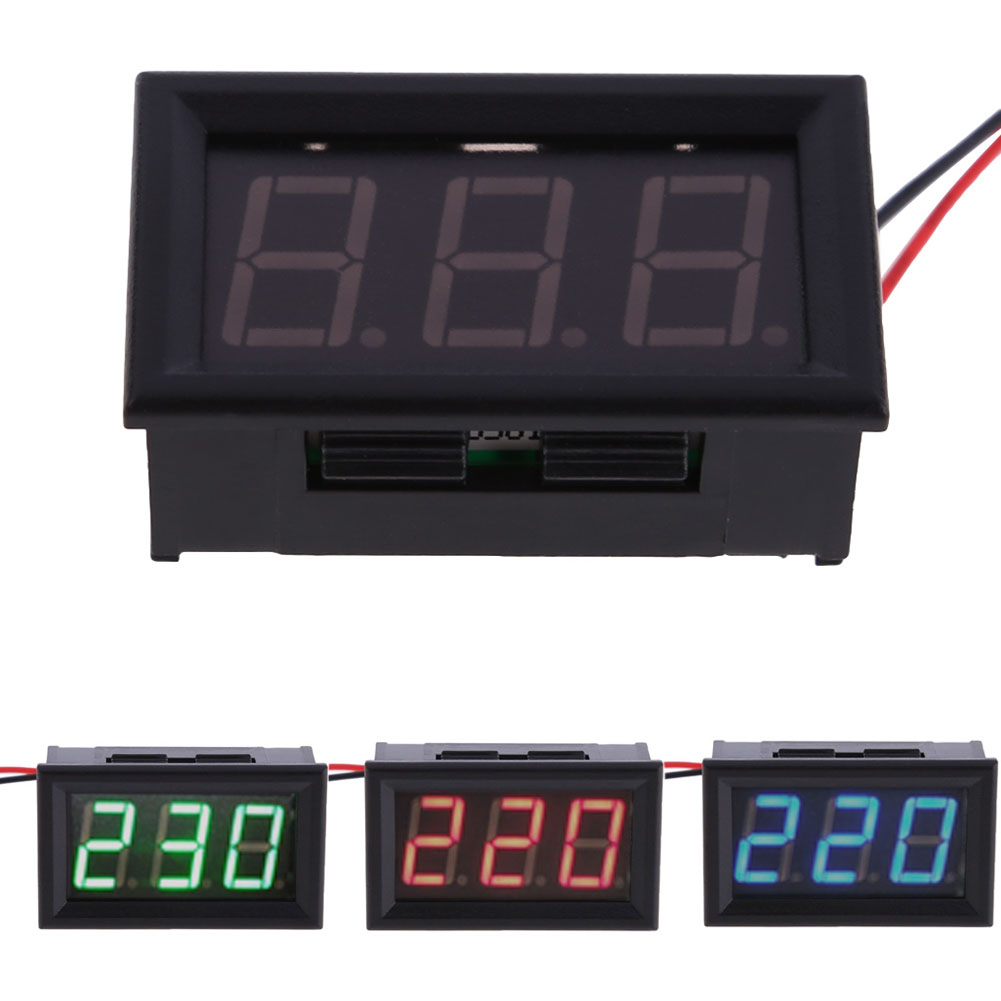 YB27A Digital Electrical AC 30-500V Voltmeter Voltage Display For Home Use Blue Red Green LED volt detector yb27a led ac 60 300v digital voltmeter home use voltage display w 2 wires