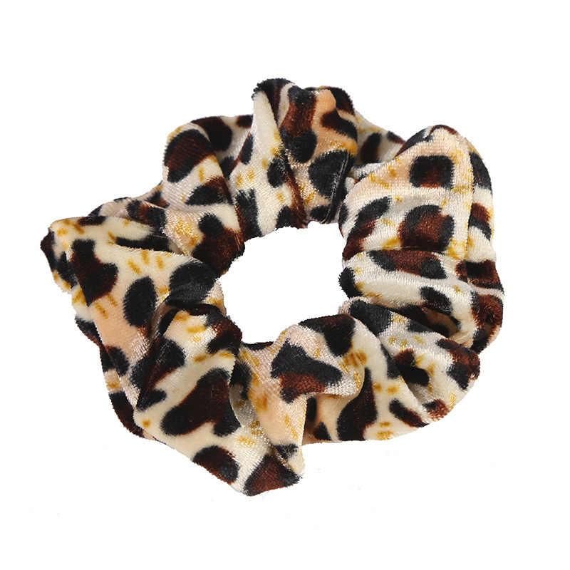 Mulheres de veludo cabelo scrunchies gravata de cabelo rabo de cavalo titular simples estiramento cor pura leopardo elástico faixa de cabelo meninas acessórios de cabelo