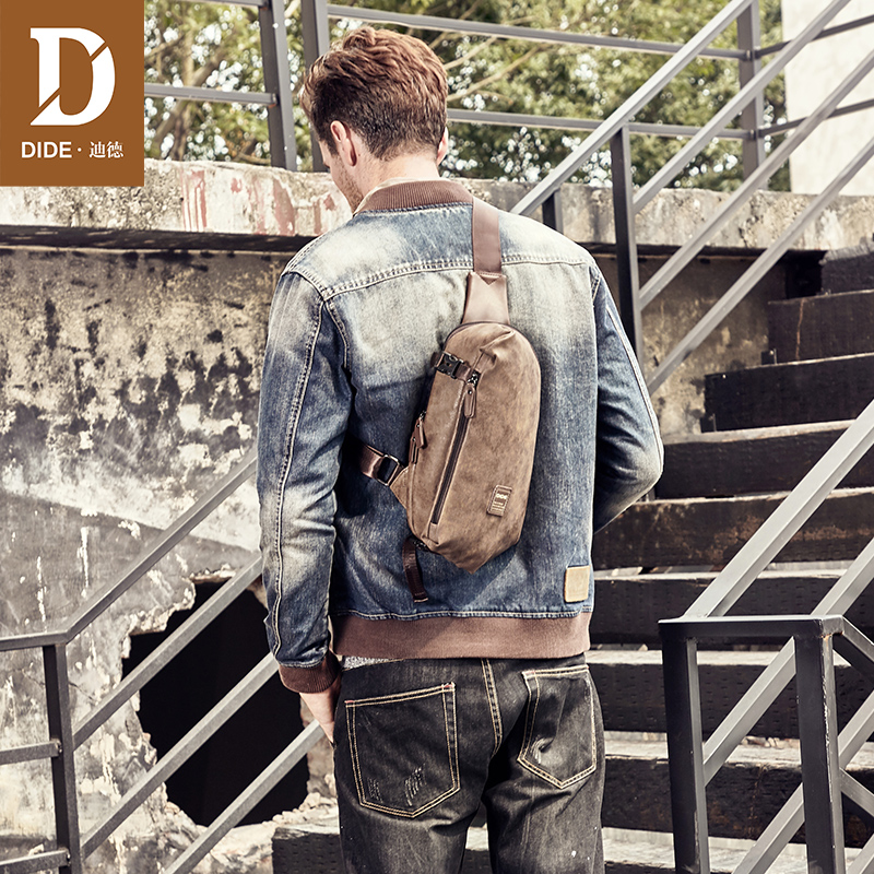 цена DIDE Fashion Chest Bags Men Vintage Leather Shoulder Bags For Men Cross body pack for Teenager Male Messenger Bag Drop shipping