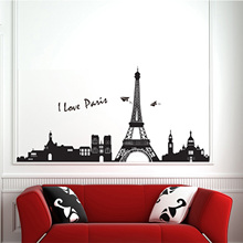 Romanitc Paris Eiffel Tower Wall Stickers WallpaperArt Removable Wall  Sticker Home Decor Room Decor