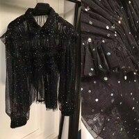 Модные блузы для женщин Удивительные ажурная ткань с блестками блузка, Bling кружевная блузка, элегантные женские блузы черный топ рубашка