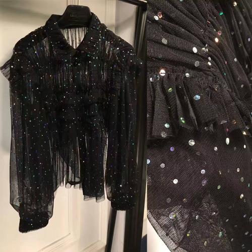 Blusas de mode pour les femmes incroyable tissu en maille avec des paillettes blouse, bling bling dentelle blouse, blouses femmes élégantes, chemise haute noire