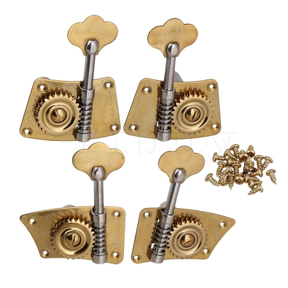 Yibuy 4 x Gold Brass 2R2L 4/4 3/4 Bass Tuning Pegs Turners Machine Head page turners 4 bigfoot