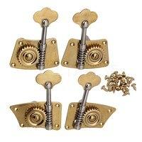 Yibuy 4 X Gold Brass 2R2L 4 4 3 4 Violin Bass Tuning Pegs Turners Machine