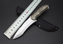 High Quality Camping Tactical Knife 5Cr13Wov Blade Wood Handle Utility Hunting Fixed Knife Outdoor Tools Nylon Sheath