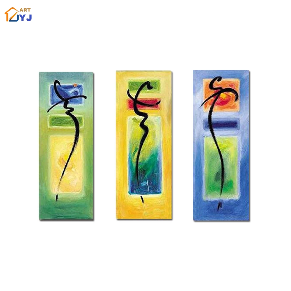 3 Panels Textured Mix Color Pic Hand painted Modern Abstract Oil ...