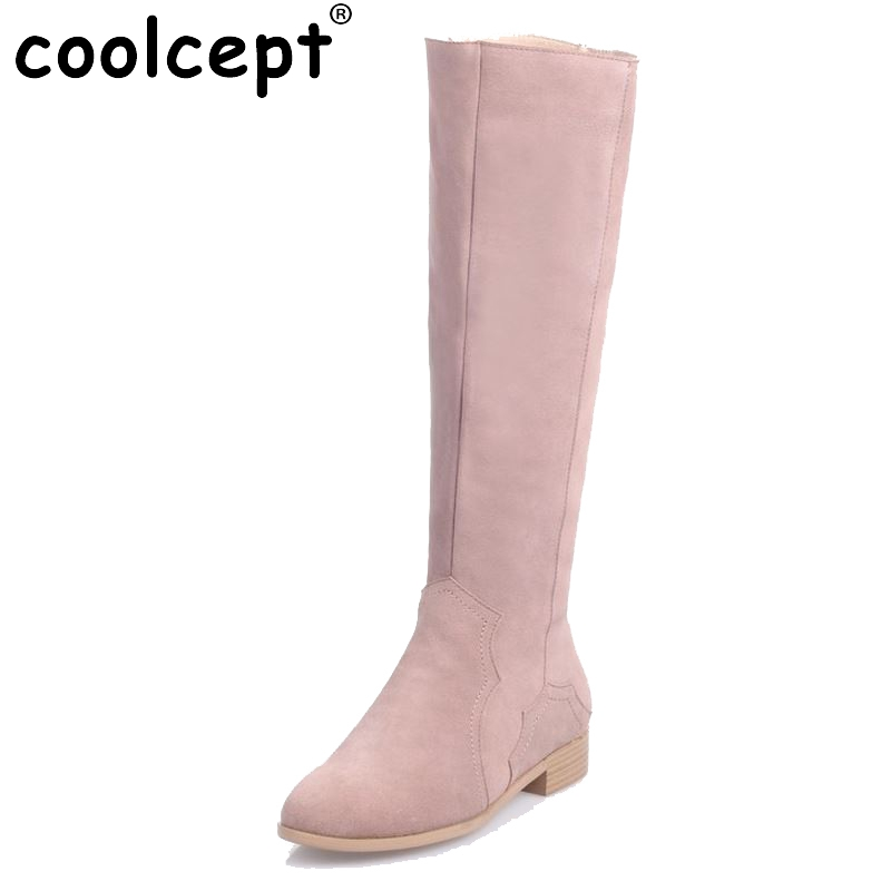 Women Real Genuine Leather Knee Boots Woman Flat Zipper Botas Feminine Winter Fur Warm Footwear Shoes Size 34-39