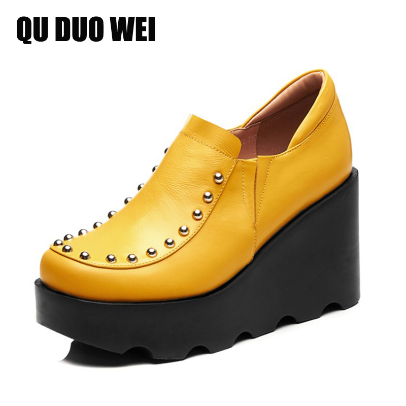 2018 New Cow Leather Women Pumps Shoes High Platform Rivet Wedges Shoes Slip-On Genuine Leather Black Yellow Ladies High Heels 2017 new women s genuine leather pumps female casual shoes sexy lady medium heels fashion high wedges platform flower slip on