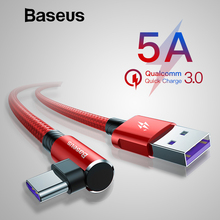 Baseus QC 3.0 USB Type C Cable for Samsung S9 S8 Plus 5A Supercharger USB C Cable for Huawei Mate 20Pro Elbow Game Data Line