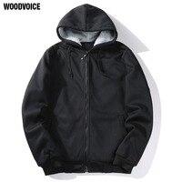 Woodvoice 2017 Yeni Marka Giyim Erkek Fermuar Hoodies Siyah Gri Kazak Sıcak Moda Dış Giyim Casual Stil Tasarım ABD/Euro boyutu