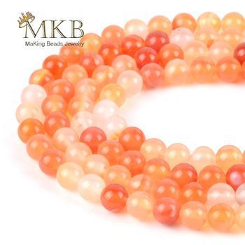 Naturalne kamienie okrągły pomarańczowy czerwony agaty koraliki do tworzenia biżuterii 4 6 8 10 12mm Onyx luźne koraliki bransoletka Zrób To Sam naszyjnik 15 cali