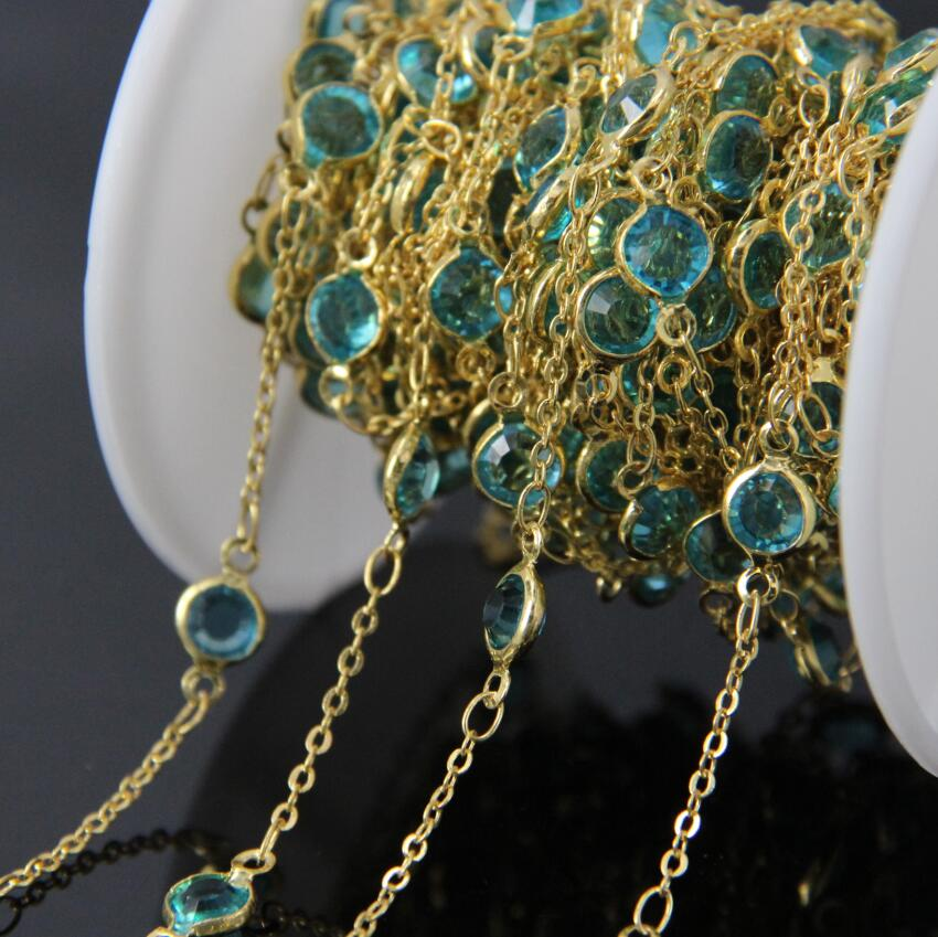 5Meter,Blue Glass Faceted Round beads Coin Link Wire Wrapped Chains,Gold Plated Glass Flat Connectors beads Gemstone Chains