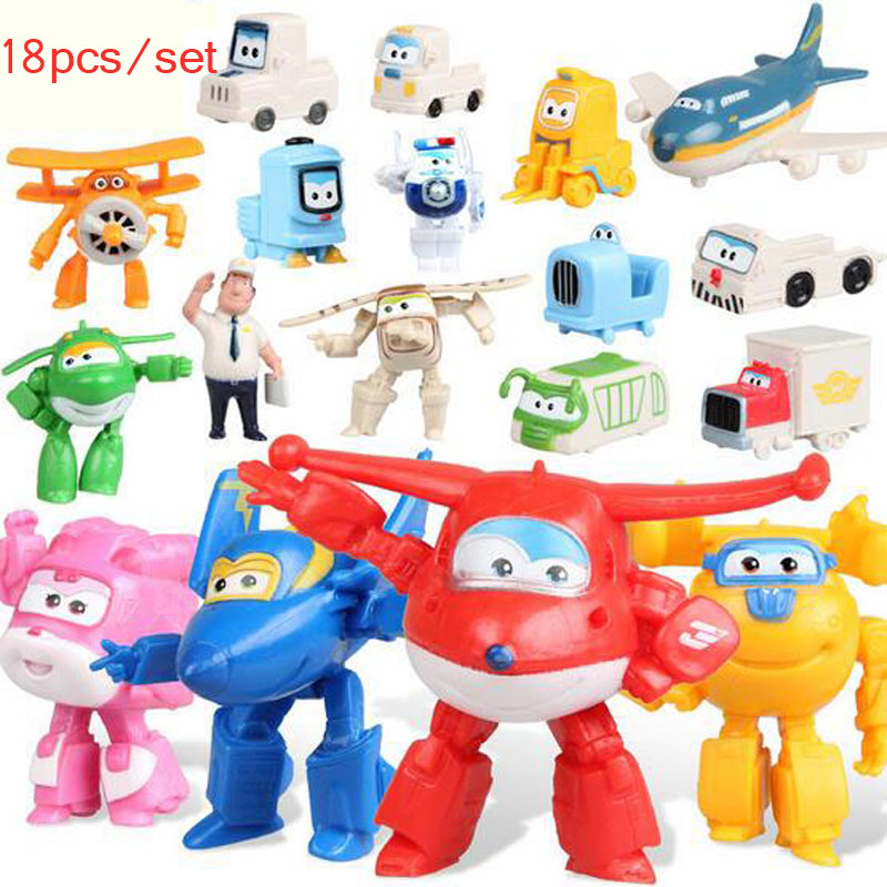 NEWEST!!! 18pcs/set Super Wings Mini Figures Toys Superwings Jett Airplane Robot Action Figures Birthday Gift For Kid Brinquedos 5 models 14cm jimbo super wings mini figures abs robot toys superwings q version cute mini airplane robot for birthday gifts