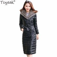 Tcyeek 2017 Warm Female PU Leather Duck Down Jacket Mink Fur Hooded Coat Black Plus Size 5XL Women's Outerwear abrigos CJ419