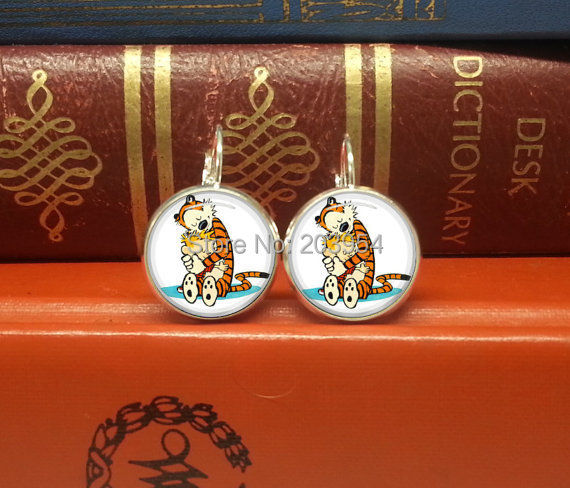Anime 2017 cartoon tiger Calvin and hobbes lady stud earrings 1pair/lot handmade 12mm/0.47inch free shipping mens earring charms