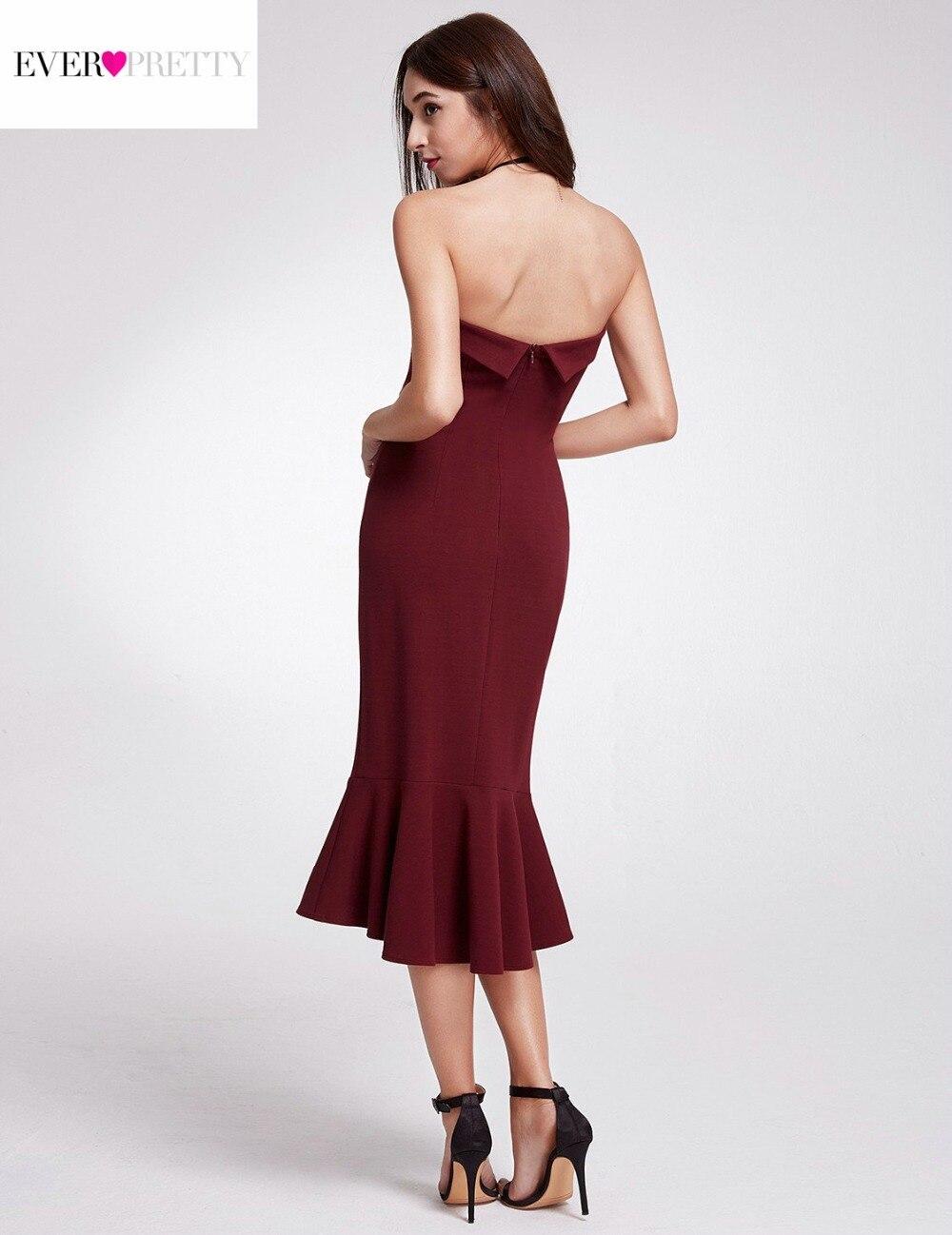 Gorąca sprzedaż burgundowe sukienki koktajlowe 2018 Ever Pretty - Suknie specjalne okazje - Zdjęcie 5
