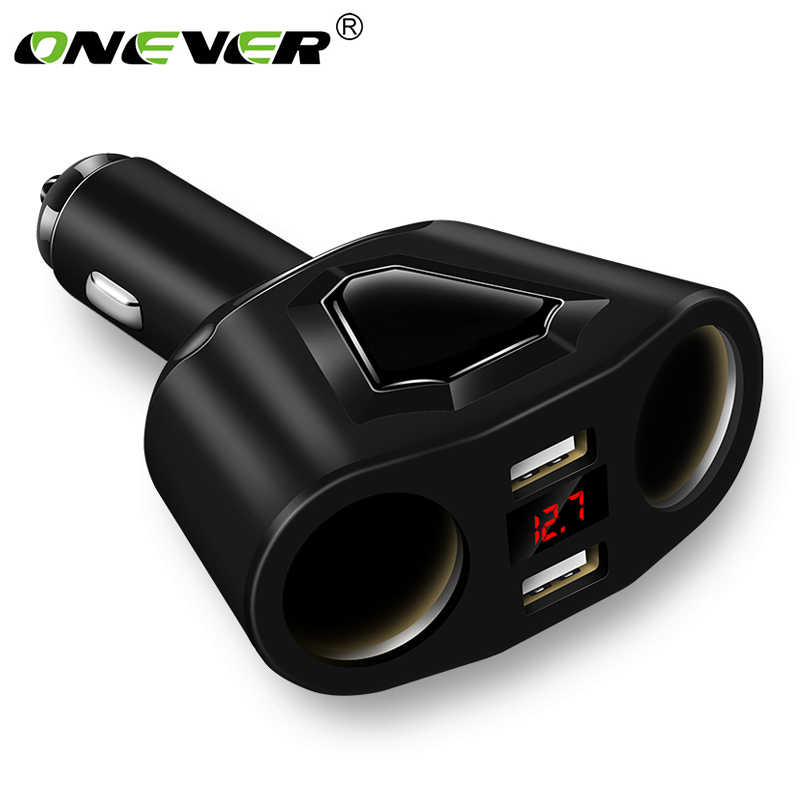 Electronic Cigarette Lighter Socket Splitter 3.1A Dual USB Car Charger for Phone with Current Volmeter for iphone ipad samsung