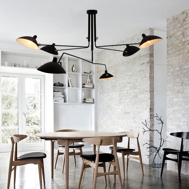 Nordic 6 Head Serge Mouille Ceiling Lights Duckbill Replica Rotating Dining Room Lighting Lamps