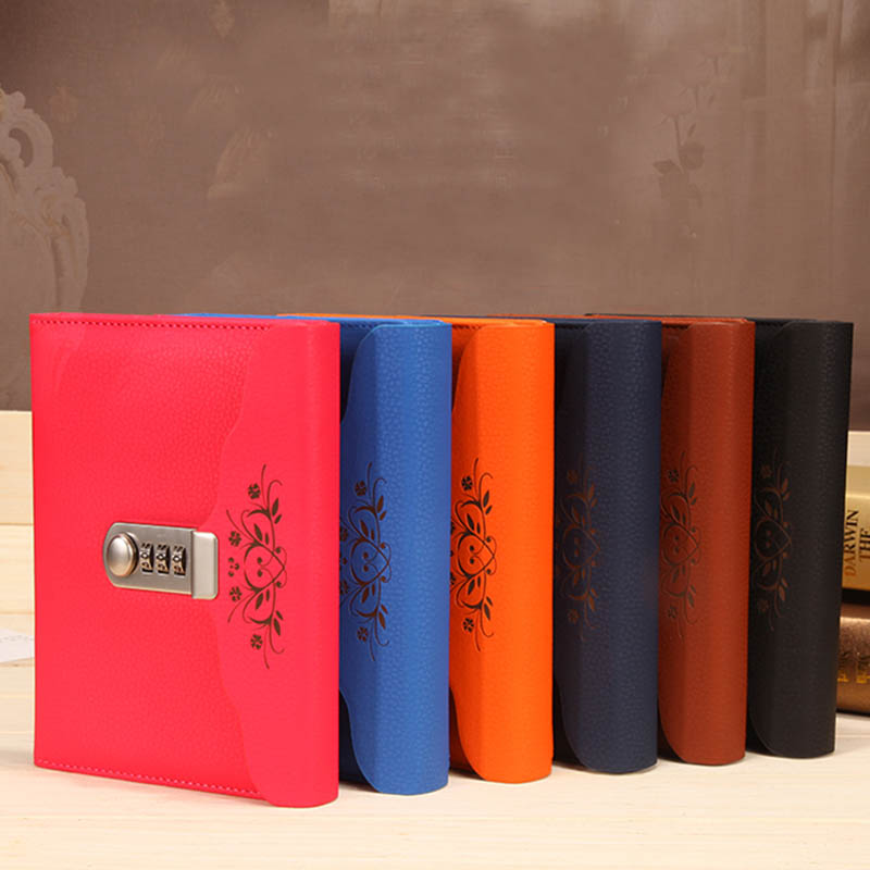 New Personal Diary with Lock code Leather notebook paper 100 sheets thick Notepad Stationery office shcool supplies Gift new personal diary with lock code spiral leather notebook business thick notepad customized office school supplies gift