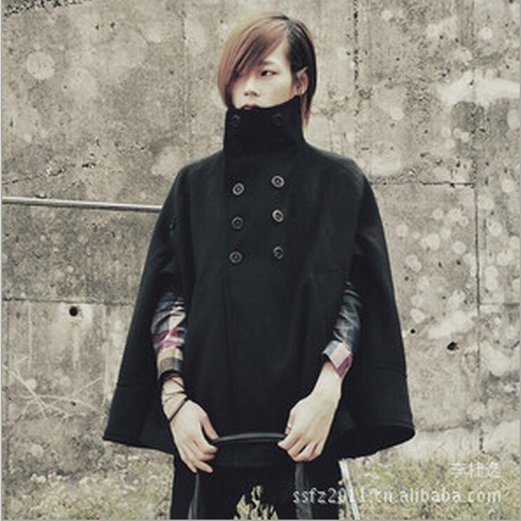 2016 Wollen Bovenkleding Herenkleding Geul Slanke Overjas Herfst Winter Mode Batwing Mouw Mantel Persoonlijkheid Zanger Kostuums